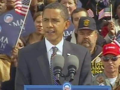 Democratic presidential candidate Barack Obama speaks at an Oct. 29, 2008, rally in downtown Raleigh.