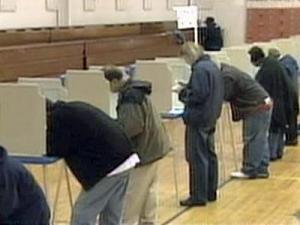 People vote at Pearsontown Elementary School in Durham.