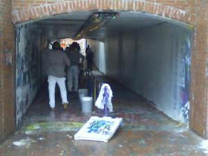 "Racist graffiti was removed from N.C. State's ""free expression tunnel"" Wednesday morning."