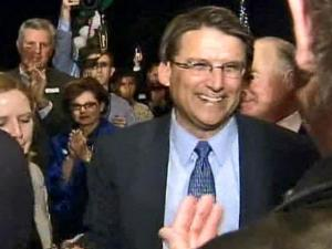 Republican Pat McCrory shakes hands and talks with supporters after conceding the governor's race to Democrat Beverly Perdue on Nov. 4, 2008.