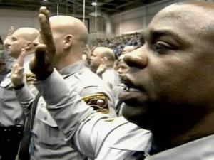 Fifty-one North Carolina State Highway Patrol troopers were among the officers from across the country sworn in Monday as special deputy U.S. marshals for the event.