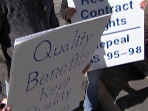 Union supporters rallied for more benefits for workers.