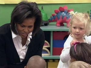 First lady Michelle Obama reads to students at Prager Child Development Center on Fort Bragg during a March 12, 2009, visit to discuss issues facing military families.