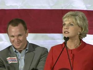 Garrett Perdue joined his mother, Gov. Beverly Perdue, on her election night in November 2008.