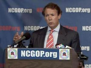 During a July 9, 2009, news conference, N.C. Republican Party Chairman Tom Fetzer criticizes a plan by Gov. Beverly Perdue to raise the state sales tax by a penny.
