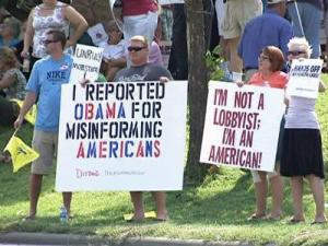 Hundreds held a rally along Atlantic Avenue in Raleigh Saturday, Aug. 9, 2009, to protest Democratic health-care overhaul proposals that are backed by President Barack Obama. The rally was the final event in a weeklong campaign by the group Americans for Prosperity.