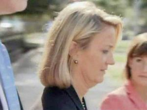 Susan Rabon, a top aide to former Gov. Mike Easley, leaves the federal courthouse in Raleigh on Aug. 19, 2009. A grand jury is investigating Easley's relationships with contributors while in office.