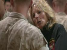 The wife of Vice President Joe Biden visited Camp Lejeune and the Marine Corps Air Station at New River Wednesday.