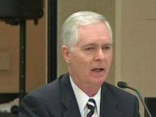 Former Gov. Mike Easley answered questions from the State Board of Elections Wednesday, Oct. 28, 2009.
