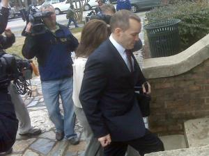 Former John Edwards aide Andrew Young enters the Orange County Courthouse with his wife on Feb. 23, 2010, for a hearing on a contempt order against him and his wife.