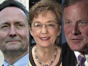 Libertarian Mike Beitler, Democrat Elaine Marshall and Republican Sen. Richard Burr (left to right)