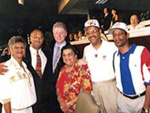 From left to right: Mildred Christmas (Ralph's sister), Bill Campbell (Ralph's brother), Bill Clinton, June Campbell (Ralph's mother), Ralph Campbell, Edwin Campbell (Ralph's youngest brother)