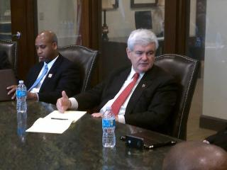 Republican presidential candidate Newt Gingrich meets with Raleigh community leaders on April 9, 2012.