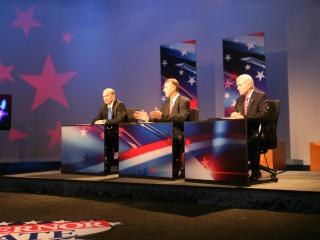 Former U.S. Rep. Bob Etheridge answers a question during the N.C. Governor Debate at WRAL-TV.