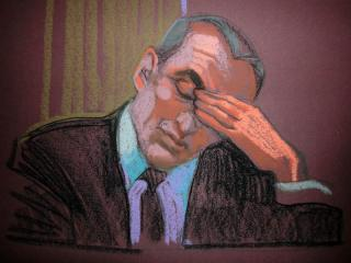 Andrew Young gets emotional on the witness stand on April 27, 2012, as he testifies in the criminal trial of former presidential candidate John Edwards. (Sketch by Christine Cornell)