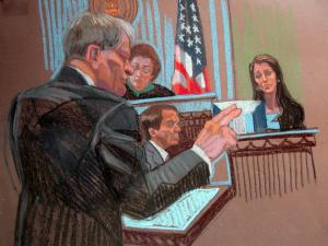 Defense attorney Alan Duncan cross-examines Cheri Young on May 1, 2012, during John Edwards' criminal trial. (Sketch by Christine Cornell)