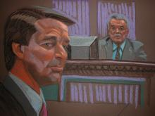 Leo Hindery, economic policy adviser for John Edwards' 2008 campaign, testifies on May 10, 2012, that Edwards was maneuvering behind the scenes after ending his 2008 presidential campaign for a top position with Barack Obama's administration. (Sketch by Christine Cornell)