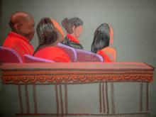 Sketch of alternate jurors in red