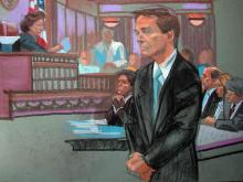 Artist Christine Cornell captures images of John Edwards's criminal trial at the Greensboro federal courthouse through her sketches of witnesses, attorneys and the defendant himself.