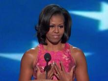 Michelle Obama addresses the Democratic convention