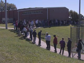 Voters waited in long lines at many polling places Saturday, Nov. 3. It was the last day to cast an early vote in the 2012 general election.