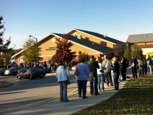 Voters lined up Saturday in Knightdale to cast a ballot.