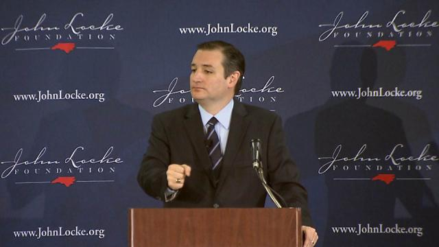 Republican presidential candidate Ted Cruz, a U.S. senator from Texas, speaks on April 13, 2015, at a John Locke Foundation luncheon in Raleigh.