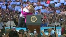 Hillary Clinton and Barack Obama in Charlotte