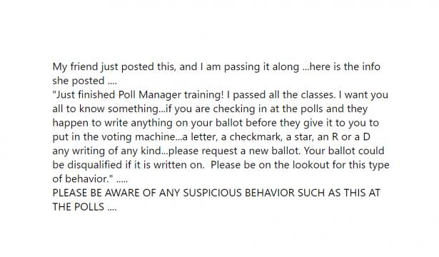 Facebook post claiming that poll workers writing on your ballot disqualifies your ballot.
