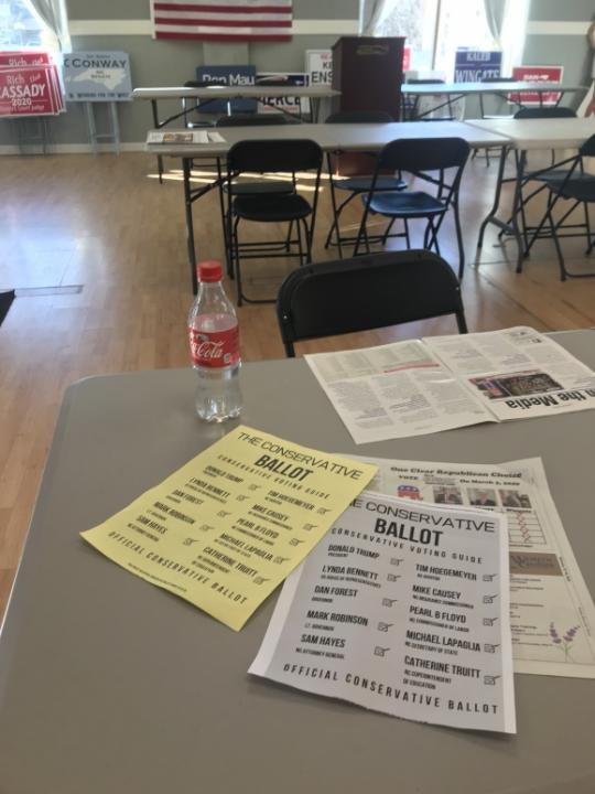 """A pair of """"official conservative ballots"""" sit on a table at the Haywood County Republican Party Headquarters in Waynesville on Feb. 14.<br/>Reporter: Andy Specht"""