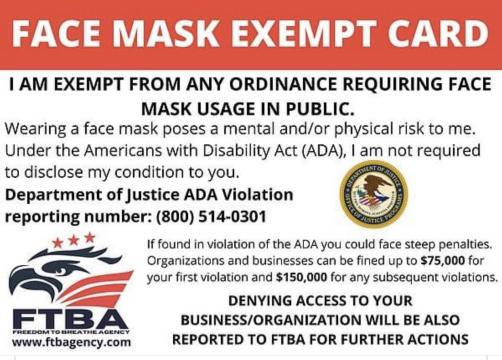 Fake face mask exempt card