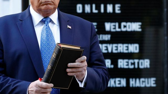 AP photo: Trump holds Bible sideview