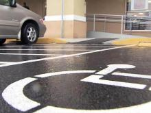 Handicapped parking space and curb ramp