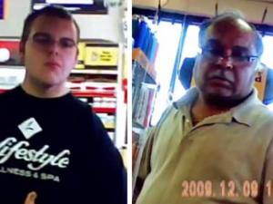 Ellenboro store clerk Michael Mace (left) and Charlotte store clerk Dipak Rajpuria (right) were arrested after undercover officers caught them taking winning lottery tickets. (Courtesy of the N.C. Education Lottery)