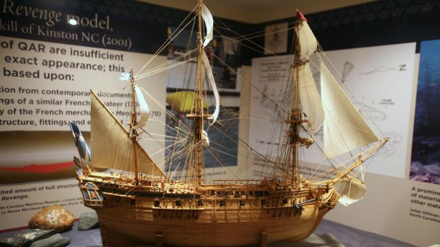 The Maritime Museum in Beaufort features a model of the Queen Anne's Revenge built by Frank Gaskill, of Kinston. The model is based on blueprints of similar slave ships of the era (Tyler Dukes/WRAL).