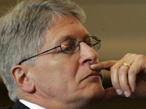 Durham County District Attorney Mike Nifong listens during a North Carolina state bar trial in Raleigh, N.C., Tuesday, June 12, 2007. Nifong faces several ethics charges tied to his handling of the Duke lacrosse rape case. (AP Photo/Gerry Broome, Pool)