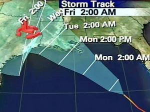 The predicted track for Hurricane Gustav Sept. 1-5, 2008.