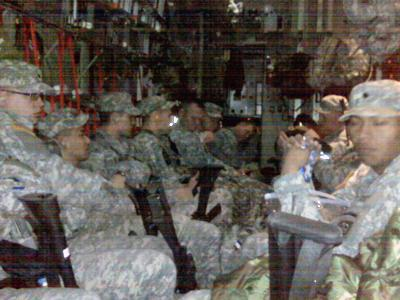 Here is a pic of us loaded on board the C-130 getting ready to leave for Haiti.