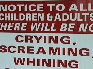 No screaming children allowed ‎at Carolina Beach restaurant