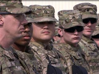 Members of the 82nd Combat Aviation Brigade from Fort Bragg arrive at Manas Air Base in Kyrgyzstan on Oct. 3, 2011, for final preparations before they begin a one-year deployment to Afghanistan.