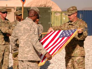 Saturday's Transfer of Authority Ceremony at Forward Operating Base Shank marked the transition from the 10th Mountain Division to 2nd Battalion, 82nd Aviation Regiment, Task Force Corsair.