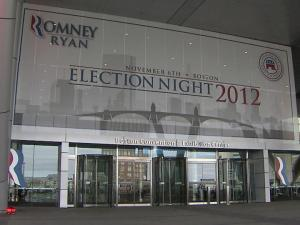 The Boston Convention and Exhibition Center serves as campaign headquarters for Republican presidential nominee Mitt Romney on election night.