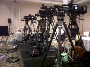News cameras at Dem headquarters in Raleigh