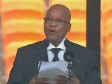 Jacob Zuma speaks at Nelson Mandela memorial