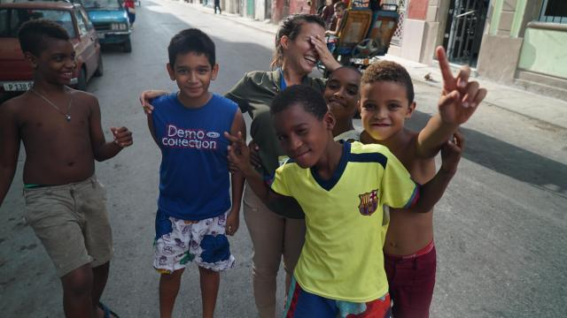 WRAL's Leyla Santiago ran into a group of children playing soccer on the streets of Havana.