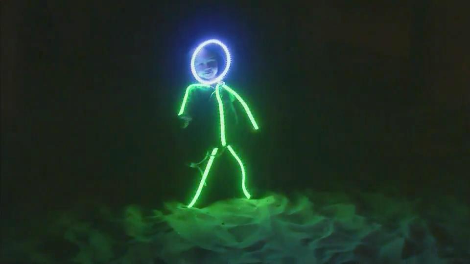 & Glowy Zoey unveils LED stickman costume :: WRAL.com
