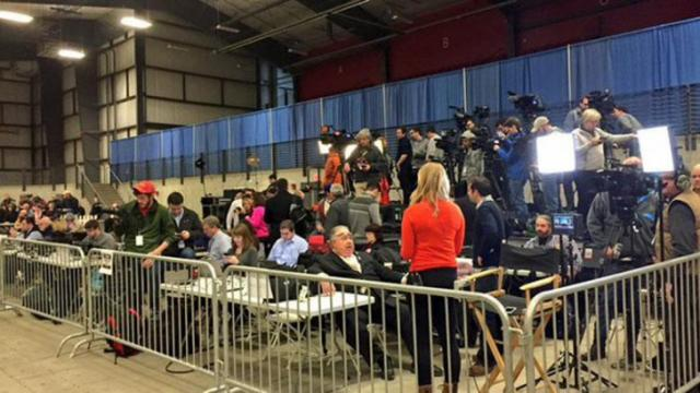 Media is corralled into a small area at an Ames, Iowa, event on Jan. 19, 2016, where former vice presidential candidate Sarah Palin endorsed Republican presidential candidate Donald Trump.