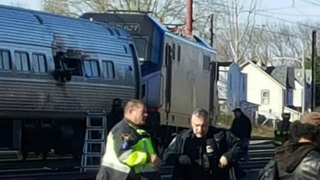 Photo taken by Hoke County Sheriff Hubert Peterkin, who was on the Amtrack train that struck a pile of construction equipment Sunday in Pennsylvania.