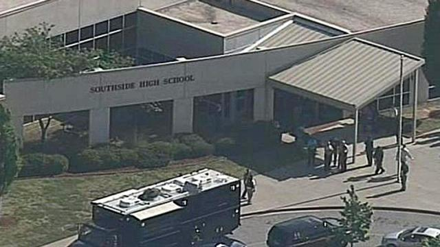 Southside High School in Greenville, S.C., was locked down Friday, May 13, 2016, after one person was shot in the cafeteria, according to a report from WYFF.