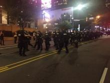 Police in riot gear arrived on scene after a group took to the streets in protest of an officer involved killing in Charlotte.